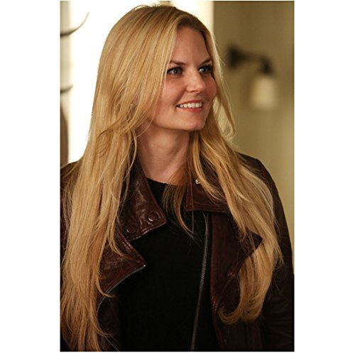 (Jennifer Morrison 8x10 photo House, M.D. Once Upon a Time Smiling Brown Leather Jacket Black Top kn)