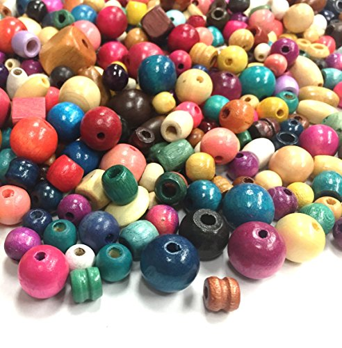 Mixed Wood Beads in Bulk, Over 600 beads (500 grams), Perfect beads for kids, Wholesale bead mix with assorted colors, shapes and sizes (Medium - Large)
