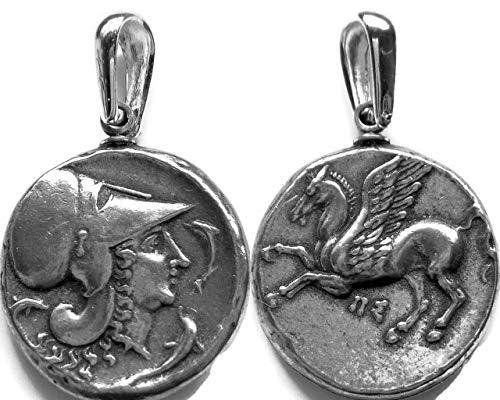 Golden Artifacts Athena and Pegasus The Winged Horse Coin Pendant, Greek Coins, Greek Mythology (2P-S)