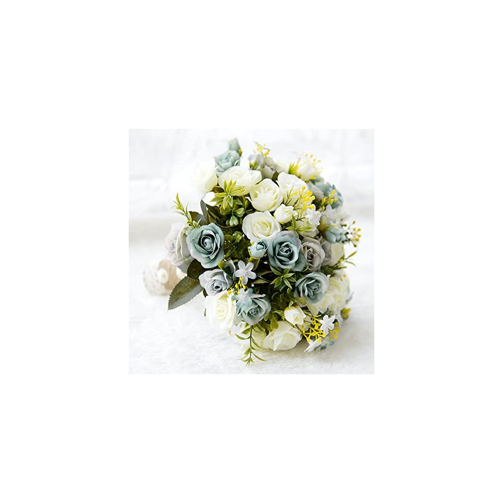 USIX Handmade Natural Looking Artificial Satin Rose Rosa Blossom Classic Picture-Perfect Wedding Bouquet Bridal Holding Bridesmaid Throw Bouquet Wedding Flower Arrangements (Ivory+Green Bouquet)