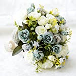 USIX-Handmade-Natural-Looking-Artificial-Satin-Rose-Rosa-Blossom-Classic-Picture-Perfect-Wedding-Bouquet-Bridal-Holding-Bridesmaid-Throw-Bouquet-Wedding-Flower-Arrangements-IvoryGreen-Bouquet