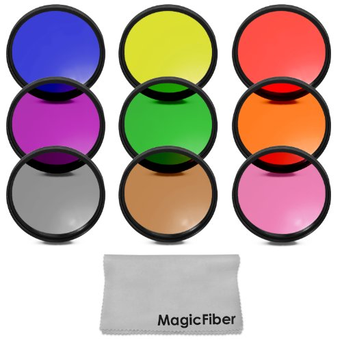 67MM Complete Full Color Lens Filter Set for CANON Rebel T5i T4i T3i T2i T1i SL1, EOS 700D 650D 600D 550D 500D 100D DSLR Cameras with a 18-135MM Zoom Lens - Includes: Red, Orange, Blue, Yellow, Green, Brown, Purple, Pink and Gray ND Filters + MagicFiber Microfiber Lens Cleaning Cloth
