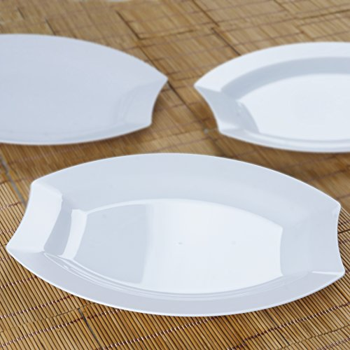 BalsaCircle 20 pcs 10.5-Inch White Plastic Oval Plates - Disposable Wedding Party Catering Tableware