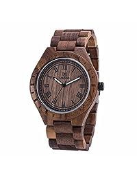 Morrivoe Mens Natural Wood Watches 47.5mm Case Analog Display Japan Quartz Wristwatches Gift