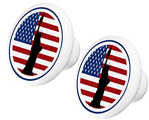 Set of 2 American Flag Statue of Liberty Ceramic Cabinet Drawer Knobs