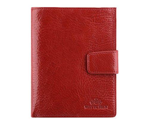 WITTCHEN Portafoglio, Dimensione: 11x14cm, Rosso, Materiale: Pelle di grano, Verticale, Collezione: Italy - 21-1-339-3
