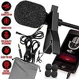 Professional Lavalier Microphone [FREE BONUS ACCESSORIES] Best Clip-on System Lapel Mic Condenser