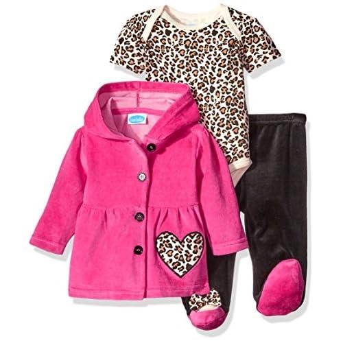 5fe2b3e0660 Bon Bebe Baby Girls' 3 Piece Set with Velour Jacket Pant and Bodysuit