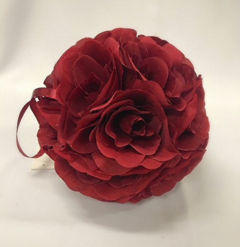 Ben Collection Fabric Artificial Flowers Silk Rose Pomander Wedding Party Home Decoration Kissing Ball Trendy Color Simulation Flower (Burgundy, 20cm)