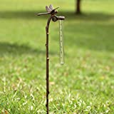 SPI Home Rain Gauge Dragonfly Garden Stake Aluminum Gauge for Precipitation