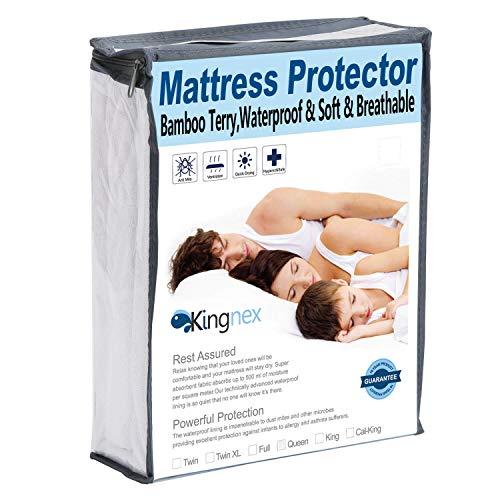 Kingnex Premium Waterproof Mattress Protector Hypoallergenic Bamboo Terry Mattress Cover Twin Size