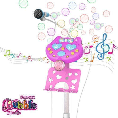 KOMVOX Karaoke Machine with Stand for Kids, Kids Karaoke Microphone with Bubble Blowing and Fun Sound Effects