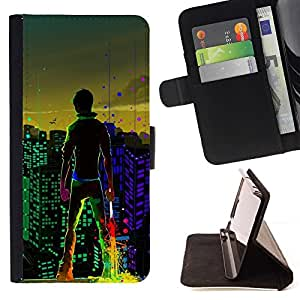Momo Phone Case / Flip Funda de Cuero Case Cover - Big City Boy luces de colores Arte de Windows - LG G3