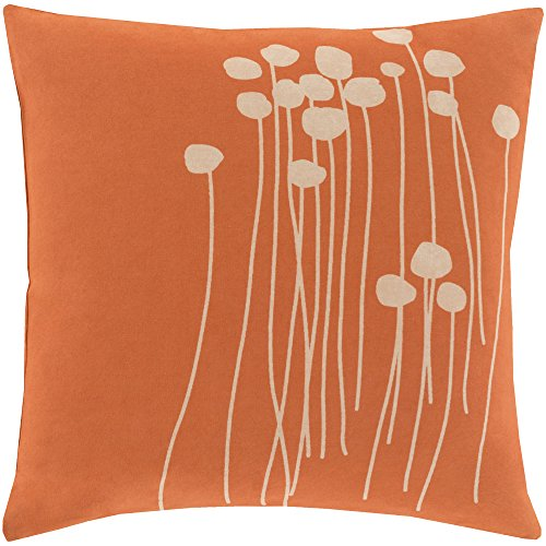 Surya LJA001-1818P Synthetic Fill Pillow, 18-Inch by 18-Inch, Coral/Beige ()