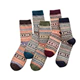 Man Socks,Shinericed 5 Pairs Man's Fashion Winter Autumn Knit Printed Warm Wool Socks Boho Vintage Thick Crew Socks (Mixed Color 2)