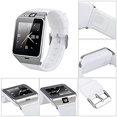 Amazingforless Bluetooth Touch Screen Smart Wrist Watch Phone with Camera - White