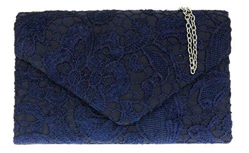 Satin HandBags Lace Girly Womens Chain Navy Bag Gift Coral Evening Wedding Elegant Shoulder Clutch 5UwTq