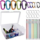10 Pack Aluminum D-ring Carabiners, YuCool D Shape Keychain Clips Hook Spring-Loaded Gate for Camping Hiking Fishing, with 10 Stainless Steel Wire Keychains, 10 Key Rings - Multi-Color