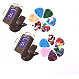 Zhoule Guitar Clip Tuner 2 Pack , 360 Degree Rotating Electronic Digital Tuner for Acoustic and Electric Guitars, Bass, Violin Mandolin, Banjo, High Precision Calibration, Automatic Shutdown