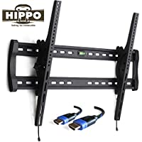 HIPPO HP8017 Heavey Duty TV Wall Mount Bracket for Most 42- 80 Flat Screen TV Weighing Up to 132 Lbs, VESA Up to 800x500 mm, 10 Degree Tilt, Security Lock, Quick Release, 6.5 ft HDMI Cable