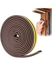 Door Weather Stripping - Self Adhesive Foam Seal Strip Weatherstripping for Doors Frame and Windows Gaps, Weatherstrip Anti-Collision D Type Door Seal Strip 20 Feet by YOUSHARES (Brown)