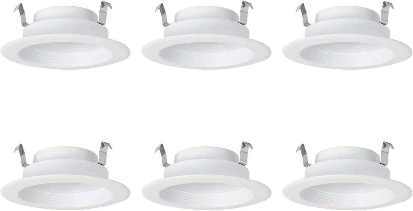 AmazonCommercial 65 Watt Equivalent, 4-Inch Recessed Downlight, Dimmable, Round LED Light Bulb | Warm White, 6-Pack