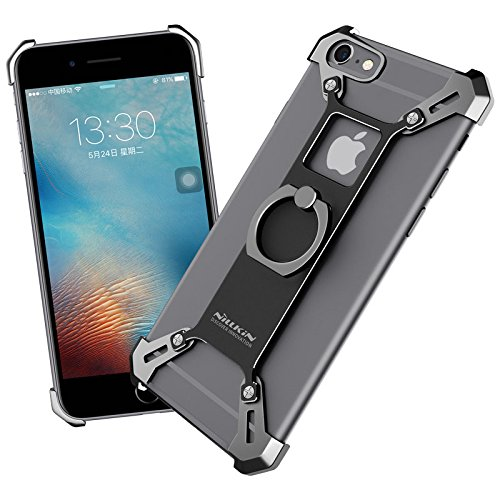 For iPhone 6 6s Case, Nillkin Barde Metal Case [Unique Design] Aircraft grade Aluminum + Zinc Alloy Assembled Metal Bumper Frame Case Back Cover with Ring Kickstand for iPhone 6 4.7