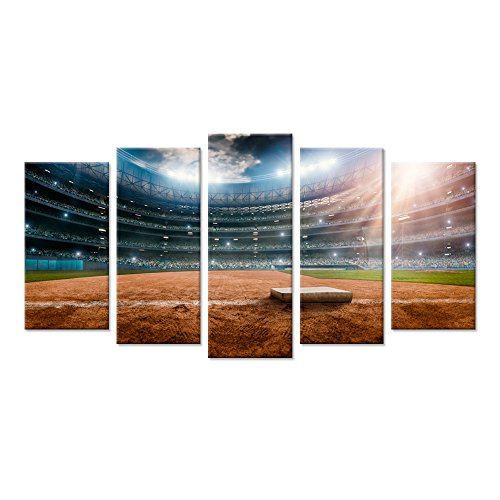 Baseball Large Framed Print (Hello Artwork - Large 5 Canvas Wall Art Print Baseball Stadium Oval Outdoor Sport Field Picture Print On Canvas Stretched And Framed Hand Fan Gift For Home Living Room Decor)