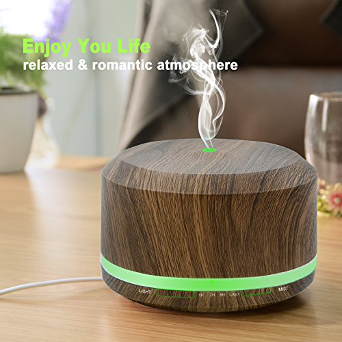 450ml Diffusers for Essential Oils, Wood Grain Aromatherapy Cool Mist Air Humidifier with 8 Color LED Lights for Home Bedroom Office by Doukedge(2 Pack) by Doukedge (Image #4)