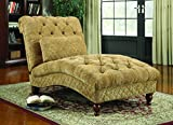 Coaster Home Furnishings  Modern Transitional Scroll Tufted Upholstered Chaise Lounge Chair with Lumbar Pillow - Golden Sand Chenille