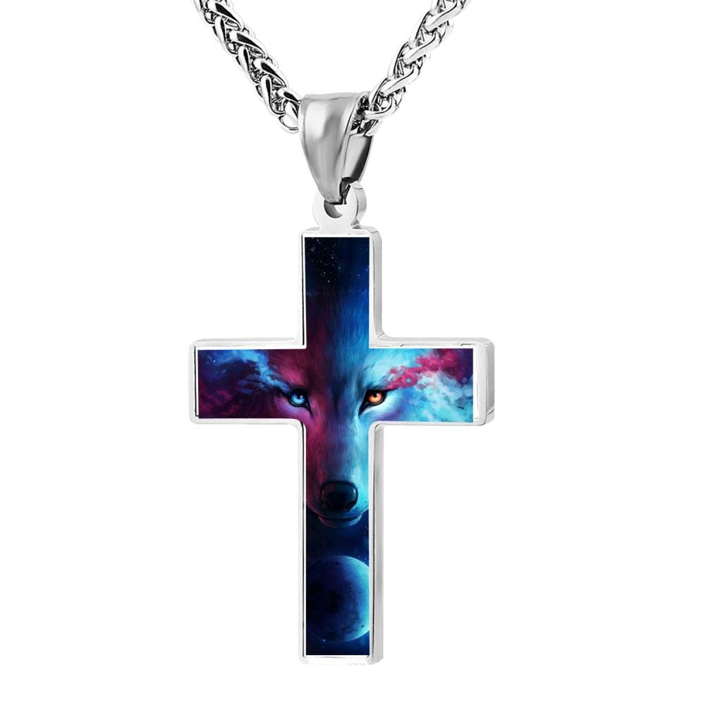 Polished Wolf Christian Cross Necklace Religious Jewelry Pendant