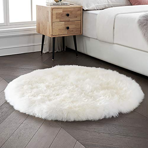 bedee Faux Sheepskin Rug, Faux Fur Rug, Faux Fleece Chair Cover Seat Pad Soft Fluffy Shaggy Area Rugs For Bedroom Living Room Kids Room (White, 120x120cm)