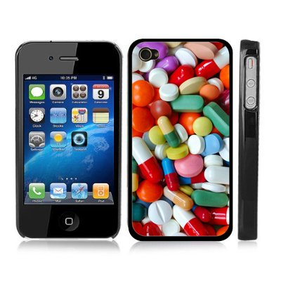 Pharmacy Student Nerdy Medicine Pills Black Snap-On Cover Hard Carrying Case for iPhone 4/4S