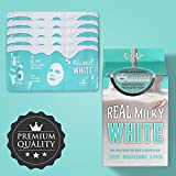 LOVLUV Real Milky White Face Masks, K Beauty Moisturizing and Hydrating Facial Sheet Set, Two-Step Skin Care Essence [5 Pack]