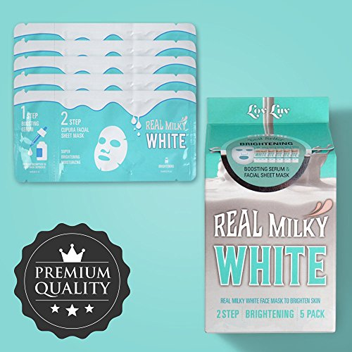 LOVLUV Real Milky White Face Masks, K Beauty Moisturizing and Hydrating Facial Sheet Set, Two-Step Skin Care Essence [5 Pack] ()