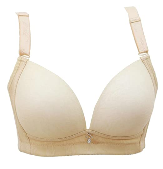 02921aa67 Cromoncent Womens Sexy Push up Seamless No Underwire 3 4 Cup Everyday Bras  Apricot US