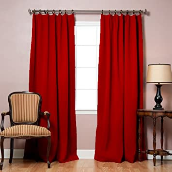 Curtains Ideas blackout pinch pleat curtains : Amazon.com: Best Home Fashion Cardinal Red Pinch Pleated Thermal ...