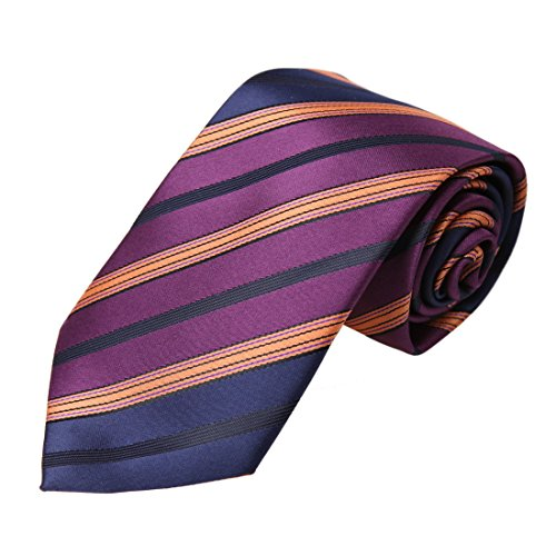 DAA7A27D Blue Purple Orange Stripes Microfiber Neck Tie Italian Gift Giving Neckwear By Dan (Italian Neckwear)