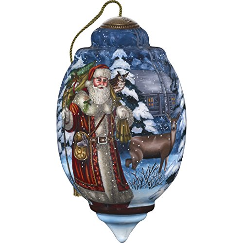 Ne'Qwa Art Hand Painted Blown Glass Standard Santa's Woodland Friends Ornament, Claus (Glass Ornaments Santa Claus)