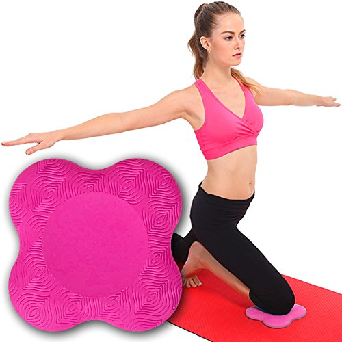 Yoga Knee Pad by MWF – Works Best with your Yoga Mat - Kneeling Support for Yoga & Pilates Exercise – Thick Yoga Knee Pads Cushion for your Knees, Elbow and Head - One Piece PINK/RED