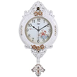 AsureQ 12 European Vintage Style Pendulum Wall Clock Elegant Traditional Design Style Decorative Non-ticking Silent (White)
