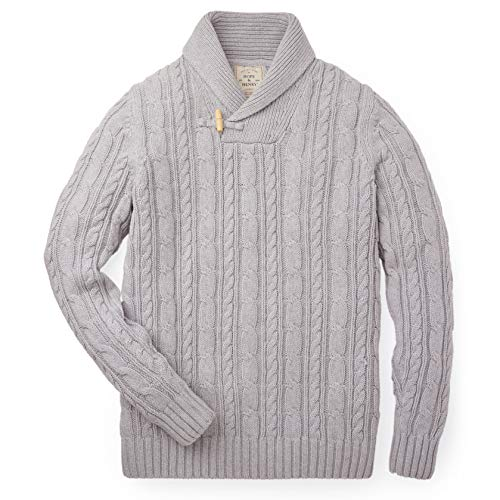 Hope & Henry Mens' Grey Cable Toggle Shawl Collar Sweater