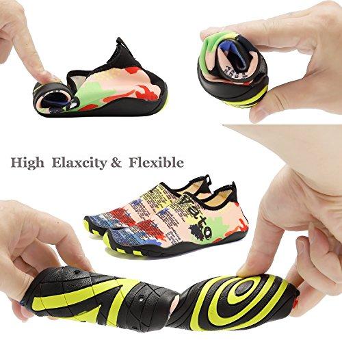 ACLULION Männer Frauen Barfuß Quick-Dry Wasser Aqua Schuhe Haut Flexible Socken für Strand, Schwimmen, Yoga Tarnung