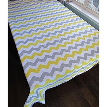 Gray Chevron Cotton Tablecloth   Crabtree Collection   Gray/Yellow Chevron (60  X 84
