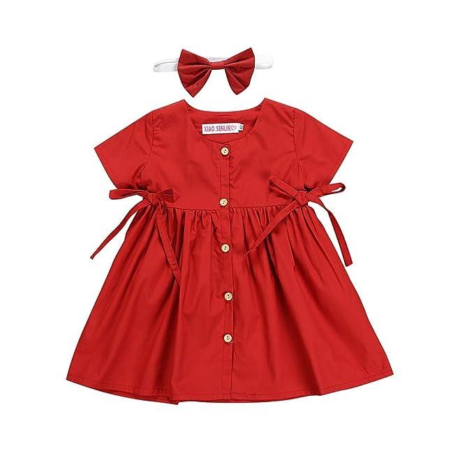 Luckycat Vestido de Princesa Ceremonia Bautizo Fiesta Encaje Floreado con Cinturón para Niña Vestido de Noche