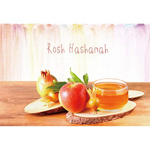 Renaiss 6x4ft Rosh Hashanah Backdrop Honey Apple Pomegranate Wooden Table September Jewish New Year Traditional Festival Celebration Background Decor Photo Studio Props Vinyl Tablecloth
