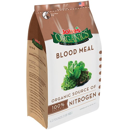 Jobe's Organics Blood Meal 12-0-0 Organic Nitrogen for Berries, Leafy Vegetables, Ferns, Shrubs and Composting, 3 pound bag