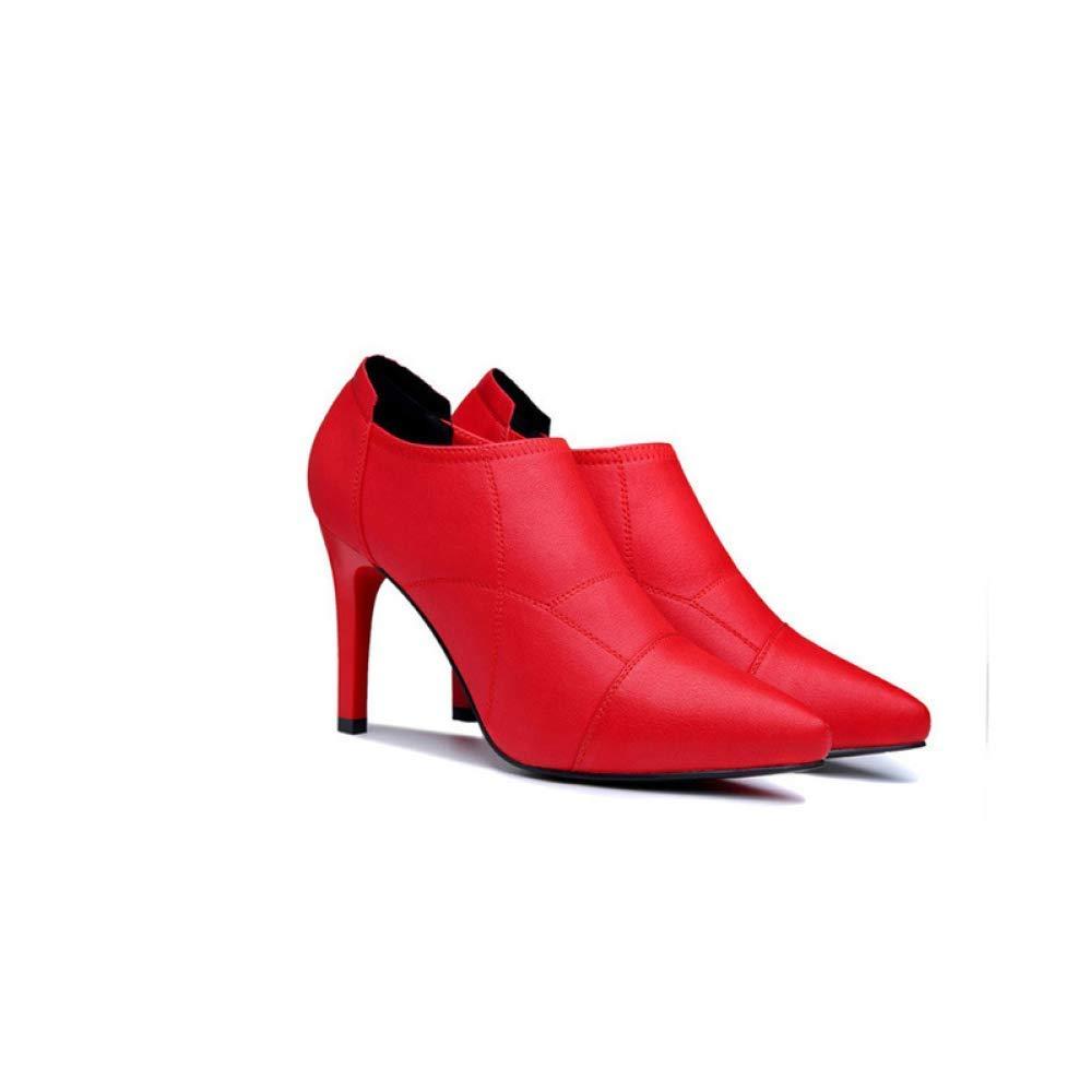 ZHRUI ZHRUI ZHRUI Herbst Wildleder dick mit Damenschuhe koreanische Runde Kopf Strass seitlichem Reißverschluss Damen Kurze Stiefel war dünn Mode Stiefel (Farbe   Rot, Größe   39) d8618c