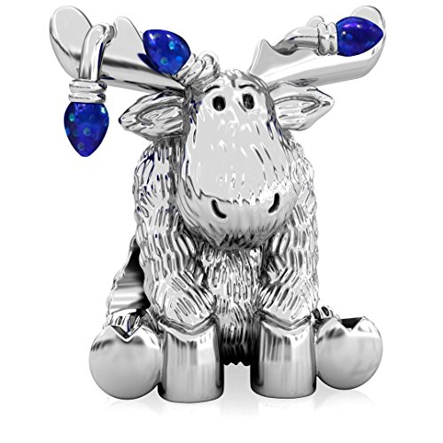 Authentic BELLA FASCINI Christmas Moose Tangled in Lights Charm Bead - 925 Silver - Fits Bracelets - ()