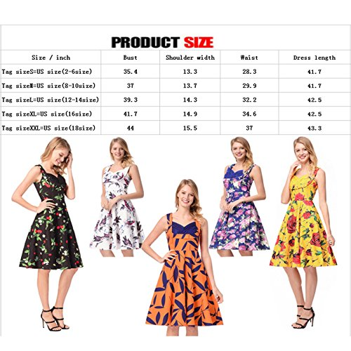 Fashion Formal Borje Swing Multicolor XXL Retro 50s Dresses Cocktail S Optional Dresses Vintage Print Evening pqdaq